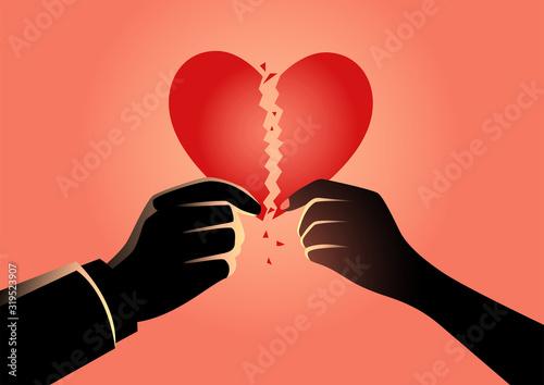 Fotomural Man and woman hands holding broken heart symbol