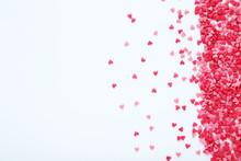 Heart Shaped Sprinkles On White Background