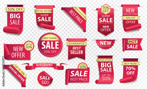 Fotomural Price tags, red ribbon banners