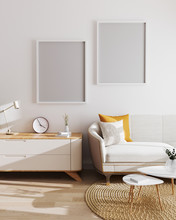 Two Blank Poster Frames In Modern Living Room Interior Background. Mockup, Living Room With White Wall And Modern Minimalistic Furniture. Scandinavian Style, Stylish Living Room Interior. 3d Render