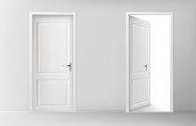 Open And Closed White Wooden D...