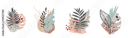 Hand drawn vector abstract tropical leaves background isolated on white Fotobehang