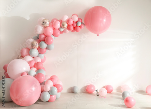 Fototapeta Room decorated with colorful balloons for party