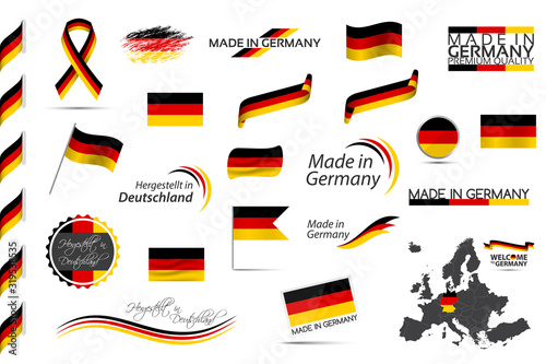 Fotografía Big vector set of German ribbons, symbols, icons and flags isolated on a white b