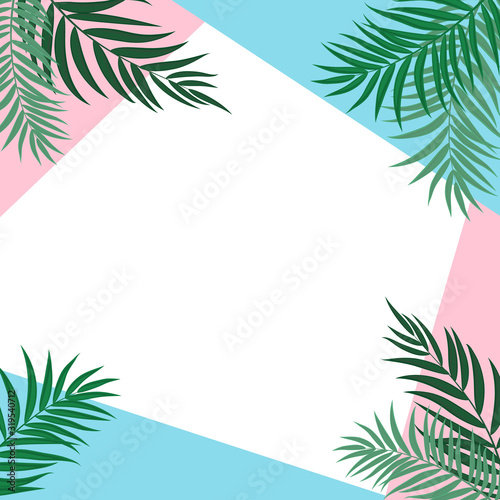 Obraz Abstract Background with Palm Leaves. Vector Illustration - fototapety do salonu