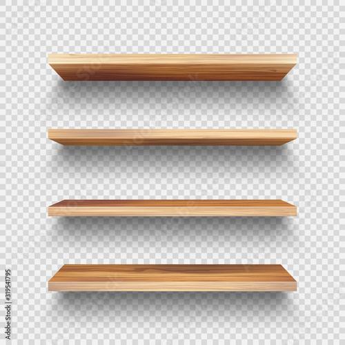 Fotomural Realistic empty wooden store shelves set