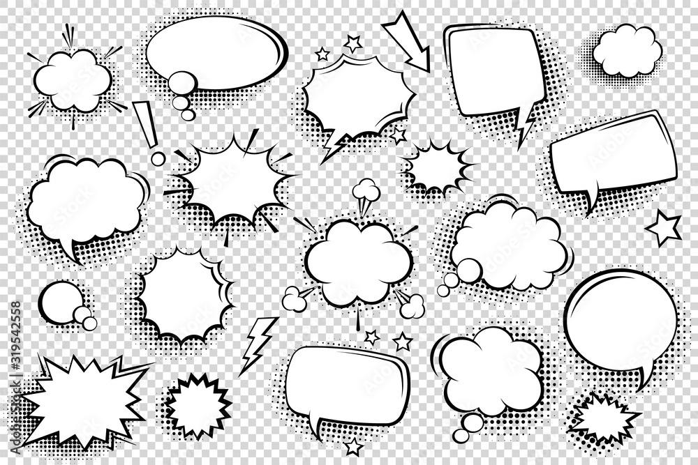 Fototapeta Collection of empty comic speech bubbles with halftone shadows. Hand drawn retro cartoon stickers. Pop art style. Vector illustration.