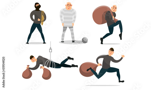 Fotografia Men robbers with money and in prison vector illustration