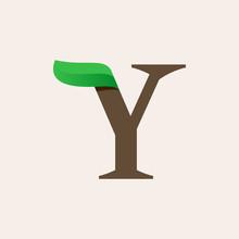 Ecology Y Serif Letter Logo With Green Leaf.