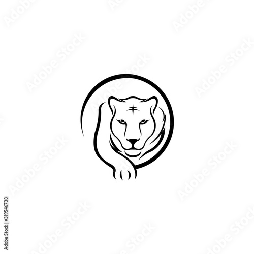 Obraz na plátně Walking tiger sports logo, Tiger icon isolated on white background, Tiger icon t