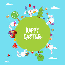 Easter World Card With Bunny A...