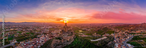 Photo Monteagudo medieval castle ruin twelve rectangular towers circling the hilltop a