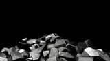 Fototapeta Kamienie - Rocks with black background. 3d Illustrations