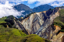 Great Ridge Of Mountains With Corrosion In Papua Province, New Guinea, Indonesia