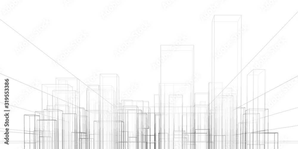 Fototapeta Abstract architectural background. Linear 3D illustration. Graphic concept. Vector
