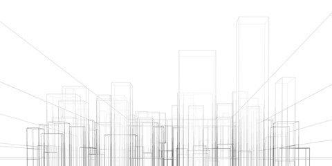 Abstract architectural background. Linear 3D illustration. Graphic concept. Vector