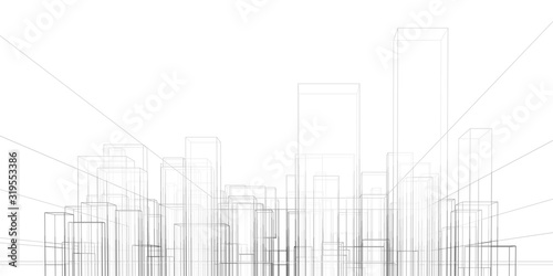 Fototapeta Abstract architectural background. Linear 3D illustration. Graphic concept. Vector obraz
