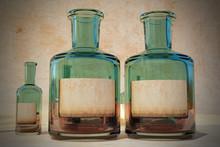 Vintage Old Medicine Tincture Bottle With Writable Blank Label - Drug Concept - Magic Potion Elixir Bottles -3D Rendering Illustration