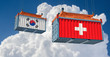 Freight container with Switzerland and South Korea flag. 3D Rendering