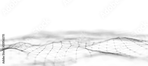 Fototapeta Futuristic abstract mesh. Wave with the connection of dots and lines. 3D rendering. obraz