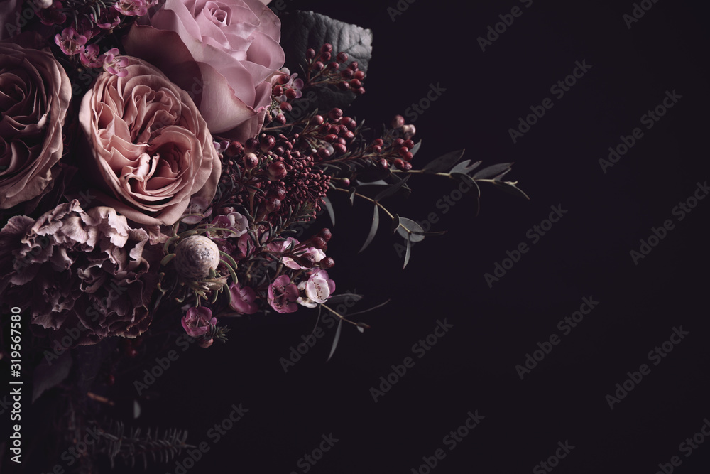 Fototapeta Beautiful bouquet on black background, space for text. Floral card design with dark vintage effect