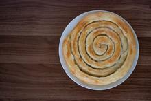 Spiral-shaped Greek Cheese Pie...