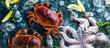 Zusammenstellung von Meeresfrüchten mit feinschmeckerischem Abendessenhintergrund der rohen frischen Krake,austern und mit roten krabben