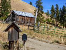 Mailboxes At The Entrance Of An Abandoned Barn In The Idaho Countryside