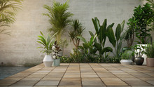 Concrete Wall And Plant In Pot On Stone Flooring Tile, Background. Place For Your Product, Text. 3d Render.