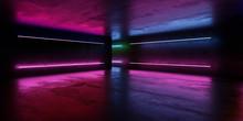 Dark Underground Industrial Grunge Basement Room With Violet Neon Light Background Texture Wall 3d Render Illustration