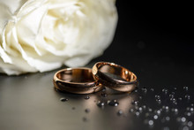 Wedding Rings Black Background White Rose Drops