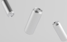 16 Oz. / 500ml Aluminium Beer / Soda / Energy Drink Can Mockup - Three Floating Cans.  3D Illustration