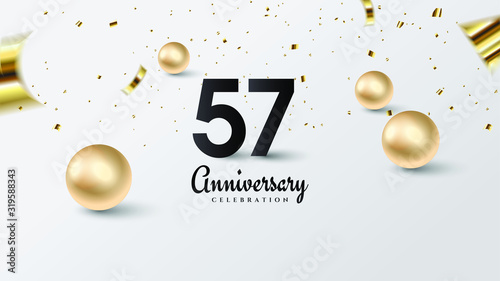Fototapeta celebration background with illustrations of black numbers and gold beads on a white background
