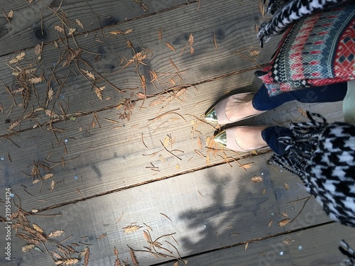 Obraz Low Section Of Woman Standing On Hardwood Floor - fototapety do salonu