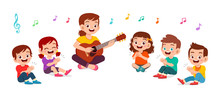 Happy Kids Boy And Girl Sing S...