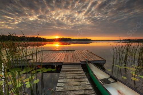 Fototapeta Beautiful summer sunrise over lake obraz na płótnie