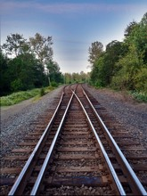 Railroad Tracks And Trees Against Blue Sky