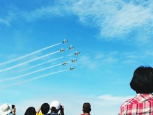 Rear View Of Tourists Watching Display Team In Aerobatic Air Show