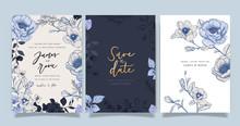Navy Blue Luxury Wedding Invit...