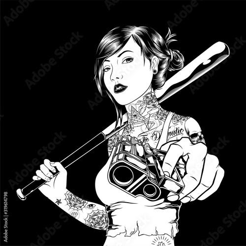 mafia girl handling gun hand drawing vector Fototapet