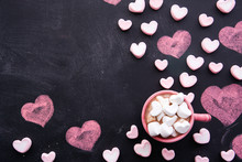 Cup Of Hot Chocolate With A Heart Shaped Marshmallow.