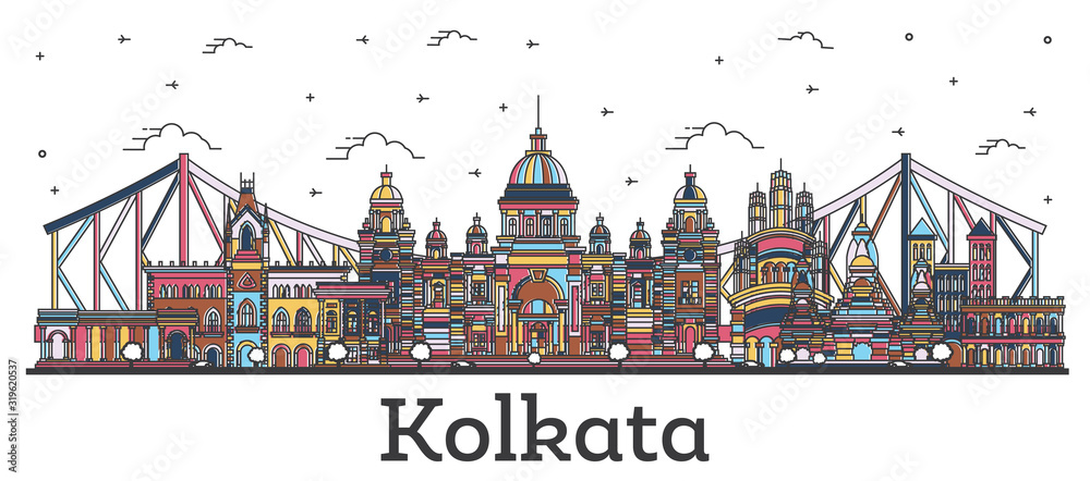 Fototapeta Outline Kolkata India City Skyline with Color Buildings Isolated on White.