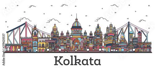 Fototapeta Outline Kolkata India City Skyline with Color Buildings Isolated on White. obraz
