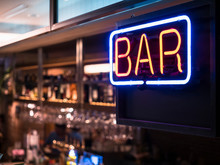 Bar Neon Sign With Blur Counte...
