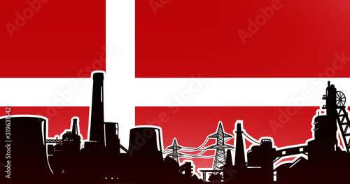 Wallpaper Mural Heavy industry of Denmark - vector illustration colored red with electric power