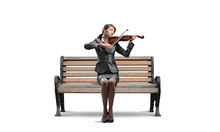 Young Woman With Violin On Woo...