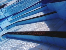 High Angle View Of Steps In Swimming Pool
