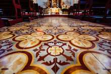 High Angle View Of Tiled Floor In Church