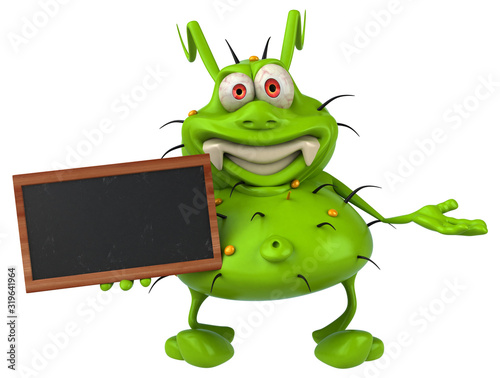 Obraz Fun 3D germ monster holding a blackboard - fototapety do salonu