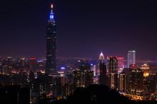 Illuminated Taipei 101 Against Clear Sky At Night